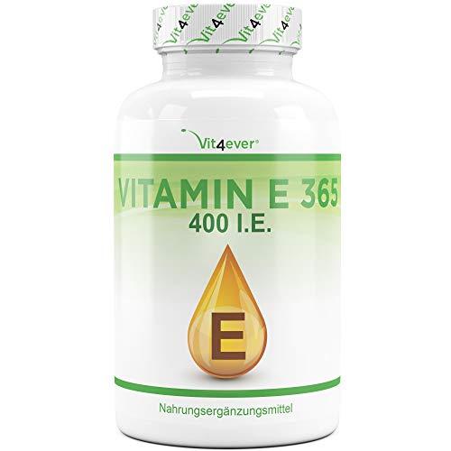 Vitamine E 400 I.E. - 365 capsules molles - Premium : Vitamine E naturelle de tournesol - approvisionnement de 12 mois - testé en laboratoire - hautement dosé