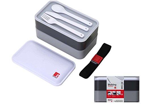 Lunchbox mit Besteck 2 Ebenen Brotdose Frühstücksdose (Frischhaltedose für Salat, Lunch Dose, Essensbehälter, 1,2 Liter, Spülmaschinengeeignet, Grau)