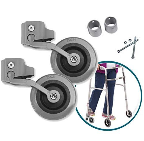 OrtoPrime Kit x2 RUEDAS Andadores Ancianos - Ruedas Traseras Adaptables a Andadores de Adultos - Casquillos Compatibles Tubo de 30mm 25mm y 22mm - Freno a la Carga por Presión y Fácil Instalación