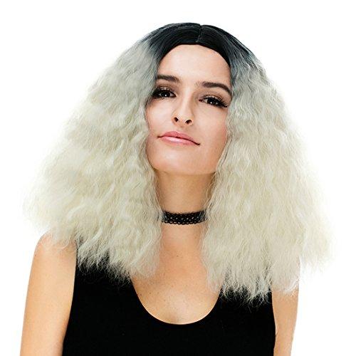 41,9 cm Femme Noir Blond clair bouclés Halloween Cosplay Perruque avec capuchon Gradual Couleur