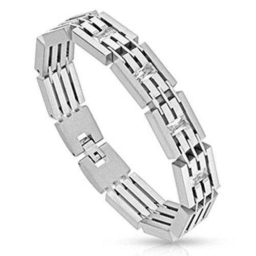 Paula & Fritz® Armband Silber Edelstahl Chirurgenstahl 316L Paved Fence Big Zi.