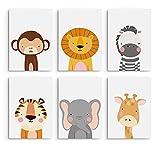Hambient Laminas Infantiles para Cuadros Habitacion Bebe - 6 Láminas 21 x 30 cm