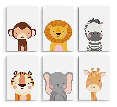 Hambient Laminas Infantiles para Cuadros Habitacion Bebe - 6 Láminas 21 x 30 cm (Safari)