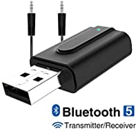 GANYUE Adaptador Bluetooth 5.0,Transceptor de Audio Inalámbrico Bluetooth USB Transmisor Receptor 2 en 1 con Cable Auxiliar Digital de 3.5 mm para TV, Altavoces, PC, Auriculares,Coche