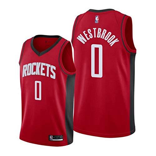 NBA Thunder # 0 Westbrook Basketball Maglia City Edition Uomo OKC Rockets Camicie Cucite Abbigliamento da Allenamento,Red(0)-M