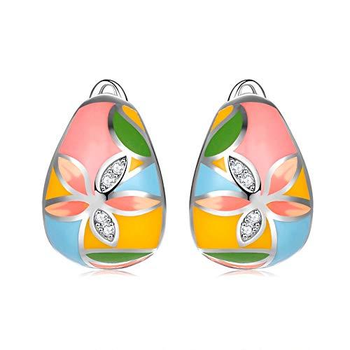 Aretes 2020 Pendientes De Esmalte De Flores De Moda Boho De Plata De Ley 925 Calientes Para Mujer Joyería Fina De Lujo Con Cz
