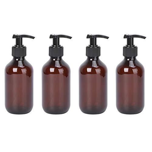 TOPBATHY Dispensador de jabón de 300 ml, ámbar, para cocina o baño, rellenable, botella de cristal con bomba para detergente, aceite esencial, champú, loción, solución de limpieza, 4 unidades