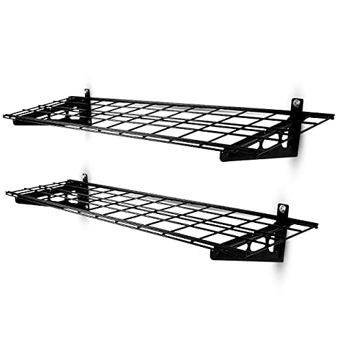 Powerack Wall Mounted Garage Shelving Storage Racks (2 Pack)   2' x 6' Floating Shelves for Storage & Organization   Steel Wire Grid Wall Garage Shelf System   Up to 400 Pounds Capacity - Black