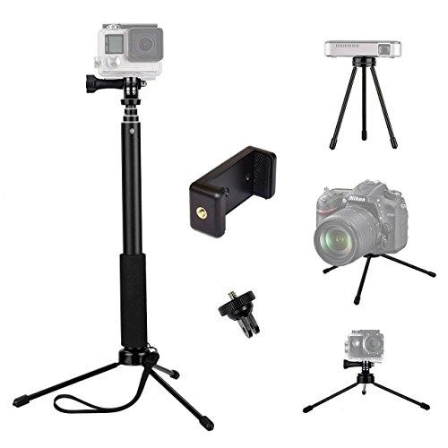 tekcam 37 cm Ausziehbares, Selfie Stick, mit Mini-Stativ für GoPro Hero 8/7/6/5/Yi 4 K Akaso EK7000/Crosstour Apeman/DBPOWER/fitfort, wasserdicht, Sport Action Kamera