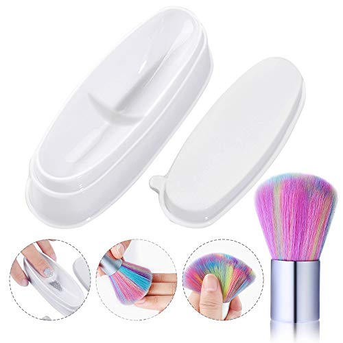 EBANKU French Nagelkunst Dip Tablett with Soft Nail Remover Brush, Acryl Pulver Guide Box Maniküre Werkzeug Powder Dipping Tray Mold Guides DIY Manicure Design Tool