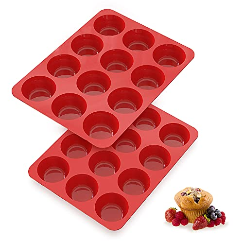 Silicone Muffin Pans Nonstick 12 Cup, 2.5 inch Silicone Cupcake Pan - Set of 2 - SILIVO Muffin Tin, Silicone Baking Molds for Homemade Muffins, Cupcakes, Quiches and Frittatas - 12 Cup Muffin Tray
