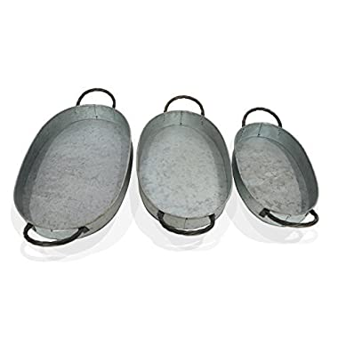 Barnyard Designs Round Metal Decorative Nesting Tray Set, Vintage Rustic Distressed Design, Serving Trays for Country Kitchen, Coffee Table, Set of 3