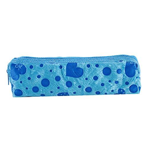 ZALING Coeur Velours Mignon Cosmétique Sacs Longue Maquillage Cas Crayon Étui Papeterie Pochette Ciel Bleu