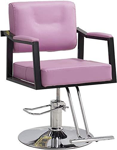 Silla hidráulica hidráulica sillera 360 ° giratorio altura ajustable salón spa belleza peluquería (Color : Pink)
