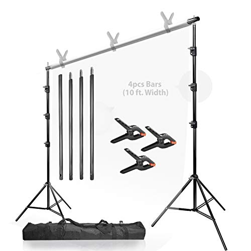 LimoStudio 10 ft. (W) 9.6 ft. (H) Backdrop Stands Background Support System Kit with Spring Clamps and Carry Bag Case, Photo Video Studio, AGG1114