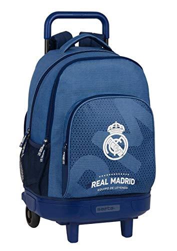 safta 612124918 Mochila grande con ruedas carro, Trolley Real Madrid CF