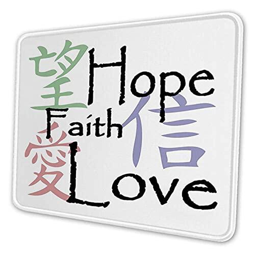 Mauspad, Mauspad, rechteckig, chinesische Symbole des Glaubens Hoffnung Liebe mit altem Arrangement Rutschfest, Gummi, Bürozubehör, Rutschfest, Gummi, Bürozubehör, Schreibtischdekoration, Laptop-Mausm