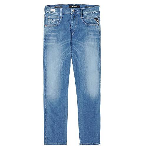 Replay Herren Hyperflex Slim Fit Anbass Jeans Blue Denim Gr. Large, denim-blau