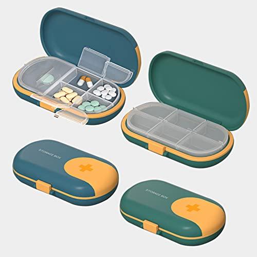 2 Pastilleros con Cortador de Pastillas, Caja de Pastillas con 4 Compartimentos – Tomas, Organizador Medicación de Plástico ABS Portátil de tamaño Bolsillo – Verde y Azul