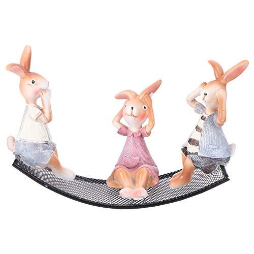 PRETYZOOM 1 Juego de Estatuillas de Conejo de Pascua Adorno Modelo de Conejo de Resina con Balancín Jardín de Hadas Miniatura Conejito Muñeca Juguete Fiesta Decoración Tamaño 1