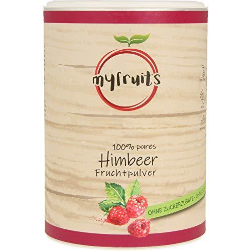 myfruits® Himbeerpulver - ohne Zusätze, zu 100{f41b6363da0c5346030f9a80abcb381dec97995e1e401c27faf87651c34cca73} aus Himbeeren, gefriergetrocknet, Fruchtpulver für Smoothie, Shakes & Joghurt (350g)