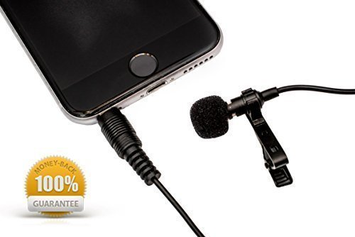 """DURBPRO 58"""" Lavalier Microphone Clip-on Lapel Omnidirectional Condenser Mic for Apple iPhone, iPad, iPod Touch, Samsung Android, MacBook, iMac, and Windows Smartphones Podcast Phone Video Recording"""