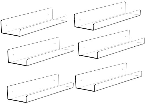 Sooyee 15 Inch Invisible Acrylic Floating Wall Ledge Shelf,Wall Mounted Nursery Kids Bookshelf, Invisible Spice Rack, Clear 5MM Thick Bathroom Storage Shelves Display Organizer, 5