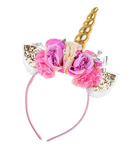 Adults Pink and Gold Floral Unicorn Headband