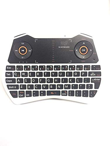 Rii 2.4GHz Mini Wireless Keyboard with Touchpad&QWERTY Keyboard, Backlit Portable Keyboard Wireless with Remote Control,Built-in Mic and Headphone Port for Online Voice Communication .i28-White