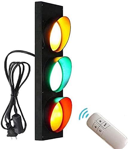 ZJJZ Lámpara de Pared con señales de Seguridad Vial, luz LED de señal de tráfico Interior con Interruptor y Enchufe, para niños, guardería, Juego de simulación, Luces de tráfico, Luces de Cruce,