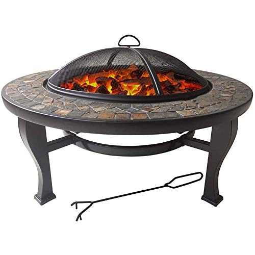 Outdoor fire Pit, Wood Burning Backyard & Patio Firepit for Outside w/Mesh Spark Screen & Poker, Patio Stove