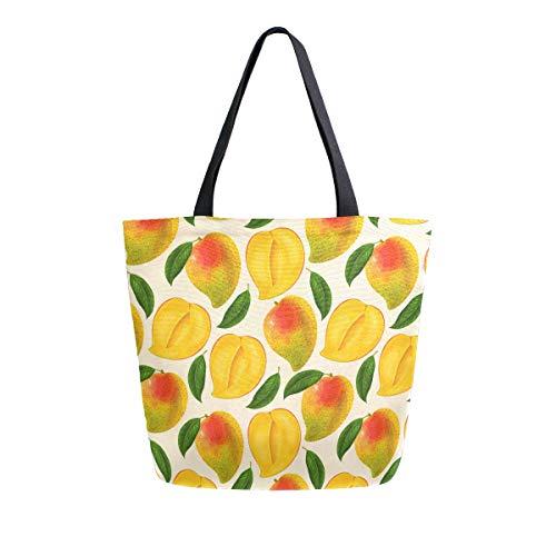ZZXXB Mango Herbruikbare boodschappentas Zware Doek Tas Grote Inklapbare Wasbare Handtas Schouder voor Vrouwen
