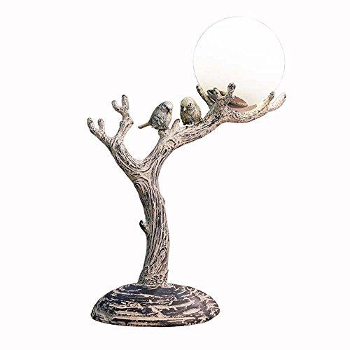 AIKE Natural, Vintage, Resina Natural clásico Hizo la lámpara de Escritorio de Madera estimulada del LED, luz Nocturna llevada con la Pantalla de la Esfera de Cristal, Tronco del árbol y Cuerpo de l