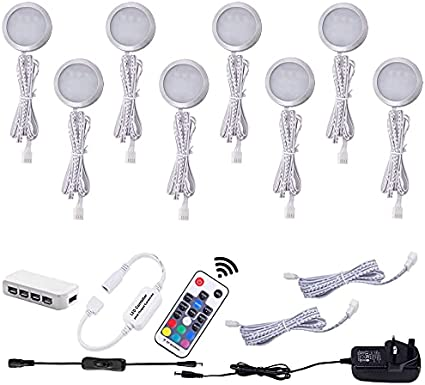 Aiboo Rgb Colour Changing Led Under Cabinet Lighting Kit Ultra Slim Led Puck Lights Counter Wardrobe Cupboard Lights For Christmas Xmas Ambiance Decoration 8 Pack Amazon Co Uk Lighting