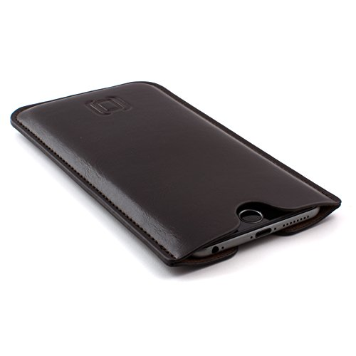 Dockem Executive Sleeve for iPhone 11 Pro Max, XS Max, 8 Plus, 7 Plus, 6/6S+ (6.5 inch models): Slightly Padded Premium Synthetic/Vegan Leather with Microfiber Lining, Slim, Simple, Slip-on Case [Dark Brown]
