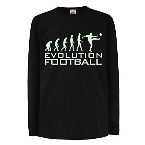 lepni.me Kinder-T-Shirt mit Langen Ärmeln Die Entwicklung des Fußballs - Fußball-WM-Fan-Shirt (7-8 Years Schwarz Fluoreszierend)