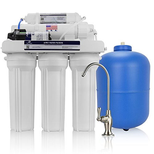 APEX Premium MR-5051 Under Sink 5-Stage Reverse Osmosis Drinking Water Filtration System, 50 GPD RO Membrane Water Filter, with Booster Pump