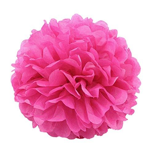 JZK® 10 x Fausses Fleurs en Boules en Papier, 25 cm diamètre, décorations pour Mariage Anniversaire baptême Communaute Parties ou diverses Occasions (25 cm Fuchsia)