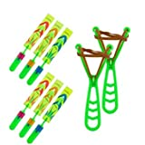 Flying Toys for Kids - Light up Rocket Slingshot LED Helicopters Copters Arrow Helicopter Glow in The Dark for Indoor and Outdoor Game Party Favors Easter Egg Fillers Basket Stuffers (6pcs)