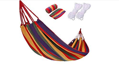 Hamaca clásica duradera de algodón, transpirable, soporta hasta 150-200 kg, portátil, con bolsa de transporte (rayas rojas/de colores, 80)