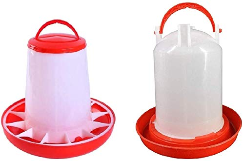 E-KAY Baby Chick Feeder and Waterer Kit for Poultry Fount for Up to 12 Chicks,Broiler Easy to Clean,Highly Practical for Coop (1.5L Waterer and 1L Feeder Kit)