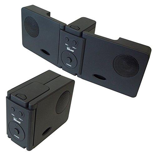 Aufklappbare Stereo Doppel-Lautsprecher Boxen inkl. Netzteil, Schwarz mit 3,5mm Klinke Kabel und USB Ladekabel