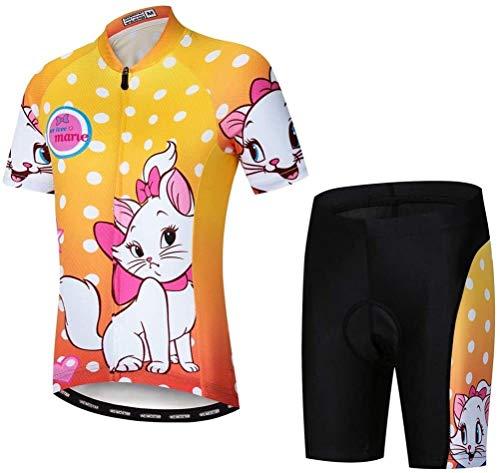 Wielertrui set kinderen Bike jersey shorts pakken (Color : Orange, Size : M)