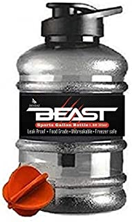 DOVEAZ Beast Sports Water/Protein Gallon Bottle (1.5 LTR) with Mixer Ball and Strainer (Unbreakable, Freezer Safe) (Orange)