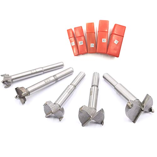 JIECHENG Forstner Drill Bits 15mm,20mm,25mm,30mm,35mm 5 Pcs Set,with Carbide Tip Hinge for Wood and Plastic