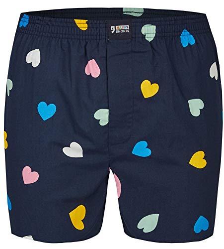 Happy Shorts Herren American Boxer Boxershorts Shorts Webboxer Hearts - Herzen S - M - L - XL, Grösse:L - 6-52, Präzise Farbe:Herz - Hearts