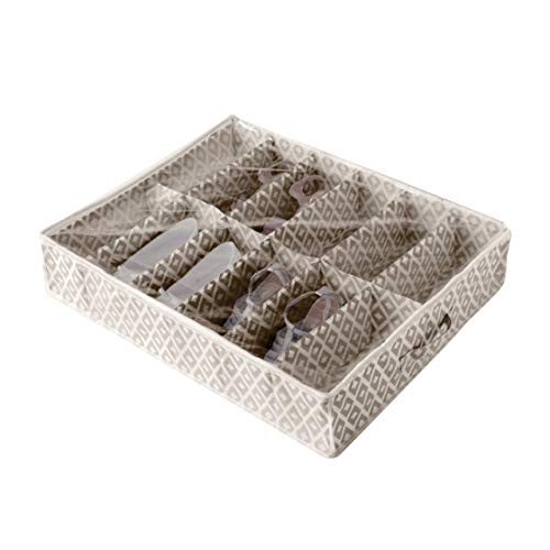 Compactor Bolsa de Almacenamiento de Zapatos, Gama Daman Beige, Color Blanco y Beige, Tamaño, 76 x 60 x 15 cm, Capacidad para 12 Pares, Ventana Transparente, RAN9071