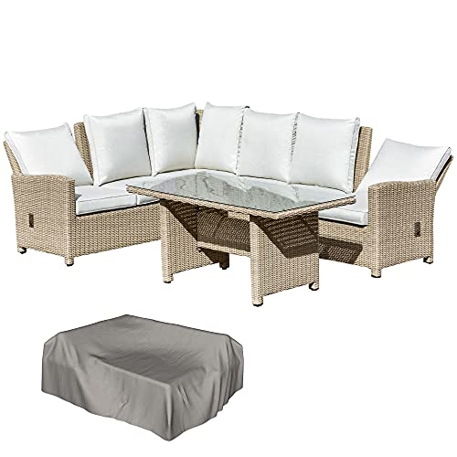 Outsunny 5 PCS Reclining PE Rattan Garden Dining Set Patio Furniture w/Sofa Chairs Glass Table Cushions Adjustable Feet Stylish Lounge Conversation