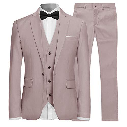 Anzug Herren Slim Fit 3 Teilig Anzüge Modern Herrenanzug 3-Teilig Sakko Hose Weste für Business Hochzeit Beige Medium