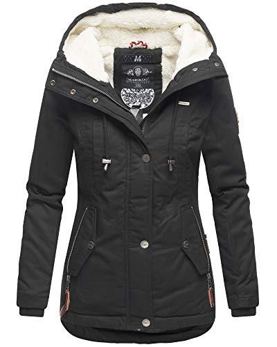 Marikoo Damen Winter Jacke Teddyfell Warm Kuschelig Kurz Mantel Parka Kapuze BKO (Medium, Schwarz)